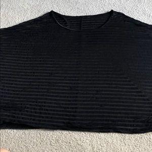 Lane Bryant women's top sheer black strips no tags